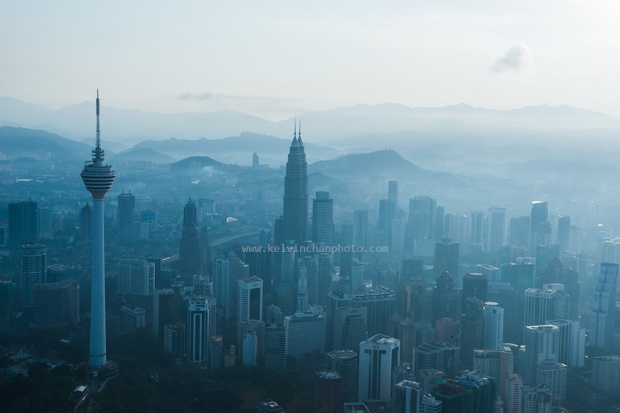 Aerial view of  early morning  Kuala Lumpur skyline
