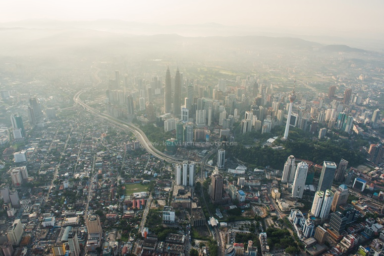 Aerial view of  early morning  Kuala Lumpur skyline