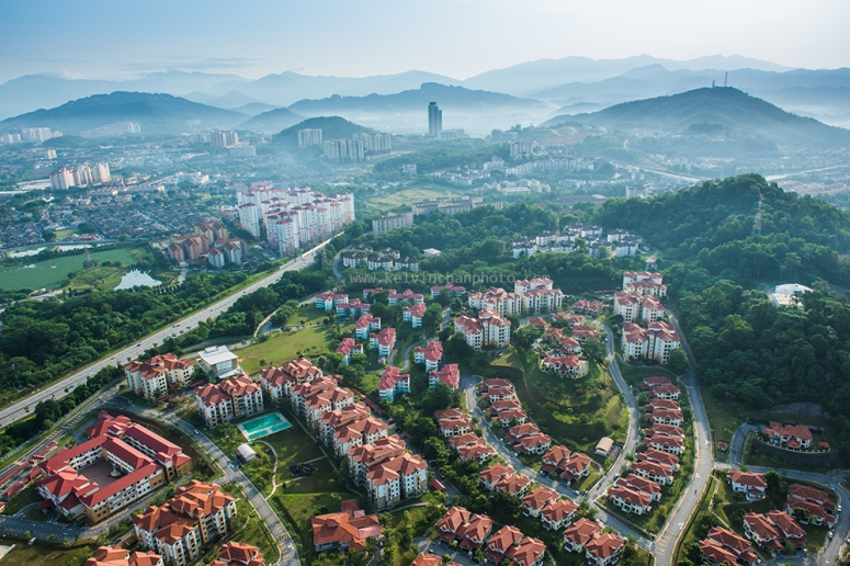Aerial view of  early morning Petaling Jaya skyline
