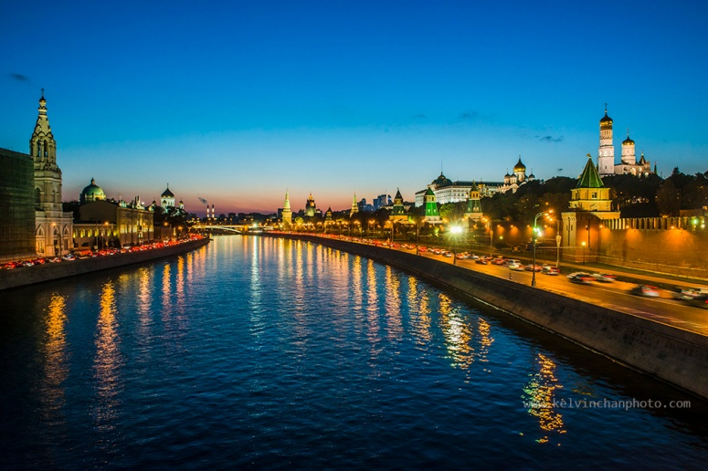 night scene of moscow river with Kremlin at the background