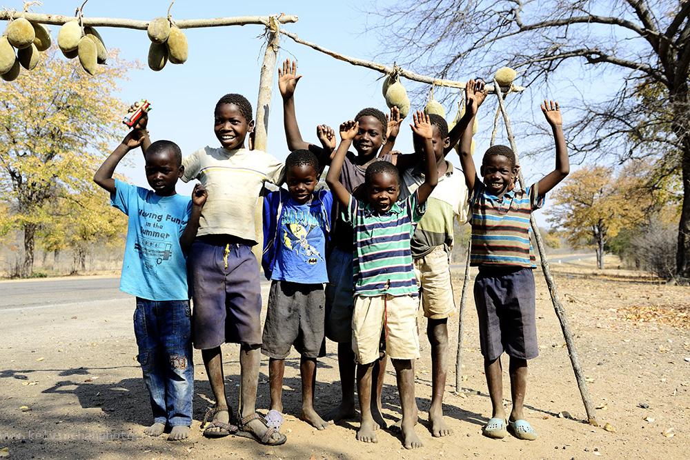 children from a village in Zimbabwe