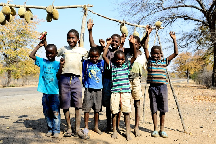 children from a village in Zimbabwe