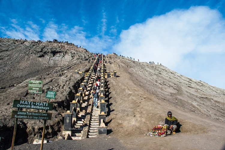 the stairs up the rim of Mount bromo crater