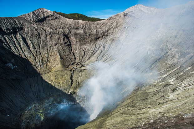 smoke coming out from Mount Bromo crater