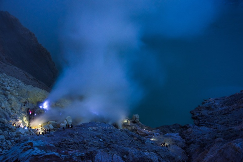 early morning view of blue fire at Ijen