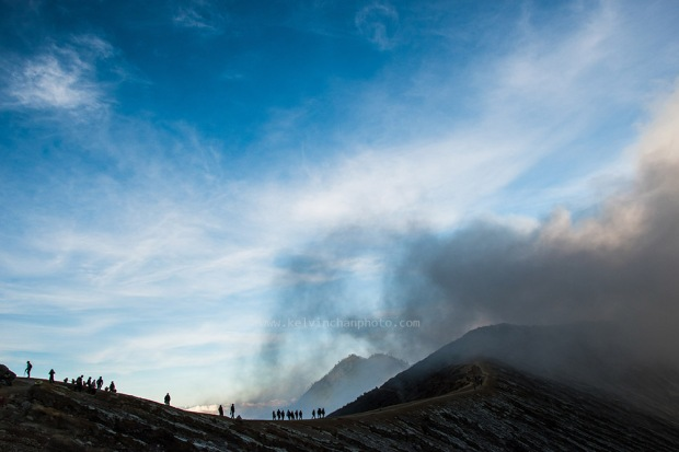 tourist hiking at Ijen