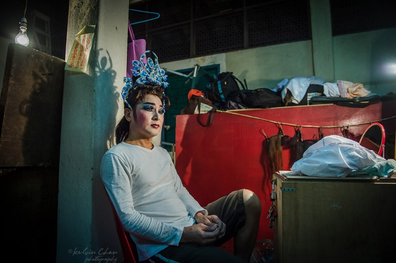 Chinese opera performer at back stage
