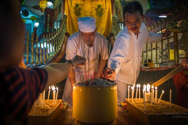 devotees at nine emperor god festival temple