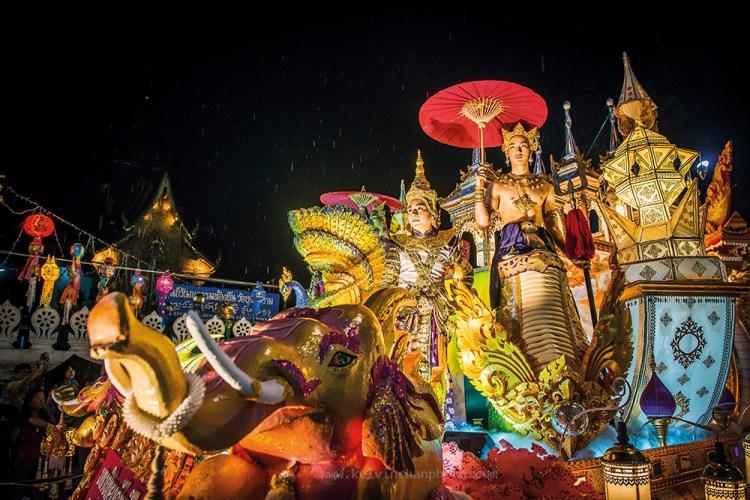 Street parade during loy krathong in Chiang Mai
