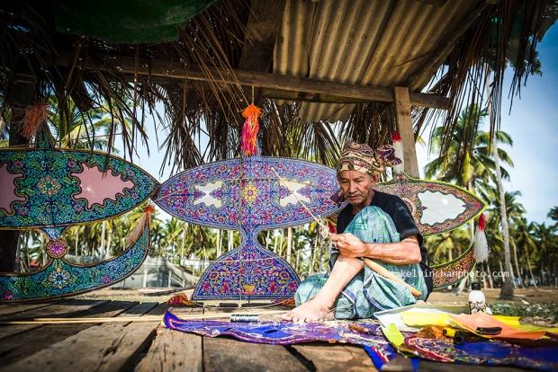 making kite in Kampung Jambu Bongkok, Terengganu, Malaysia