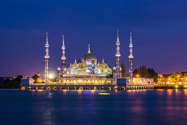 sunset at krystal mosque Kuala Terengganu, Malaysia