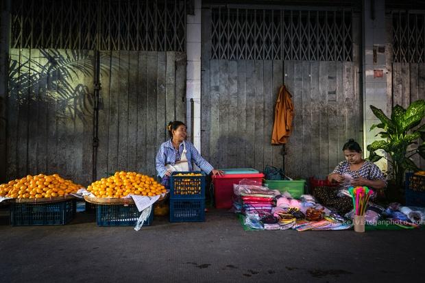 Yangon chinatown street scene